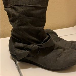 Dark gray ankle booties